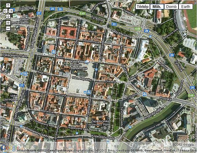 Pilsen Plten Óváros térképen