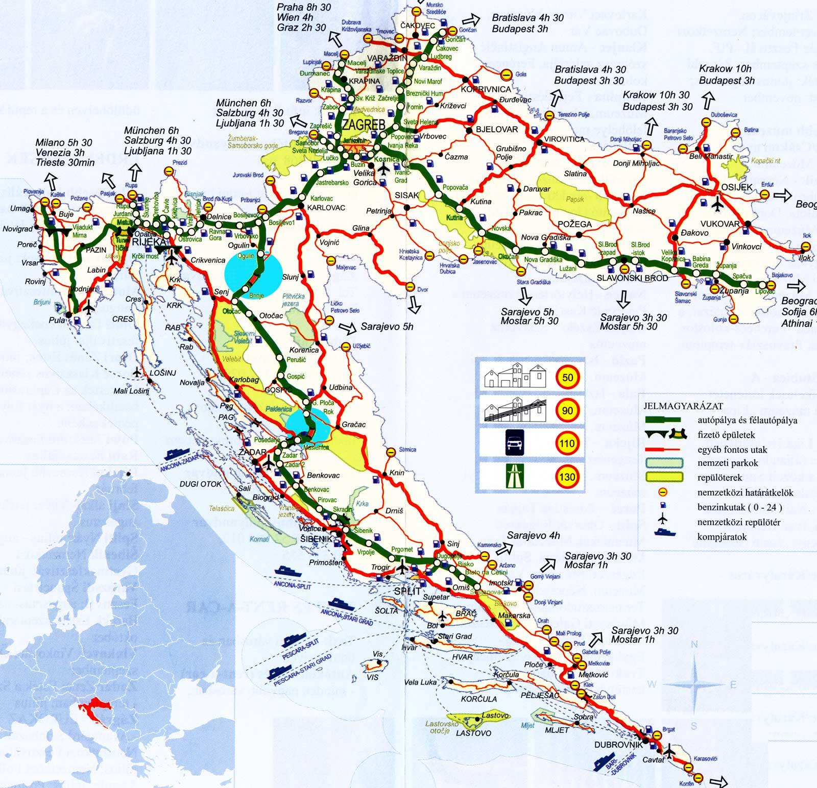 horvátország térkép részletes Horvátország Adria Dalmácia Isztria útibeszámolók információk  horvátország térkép részletes