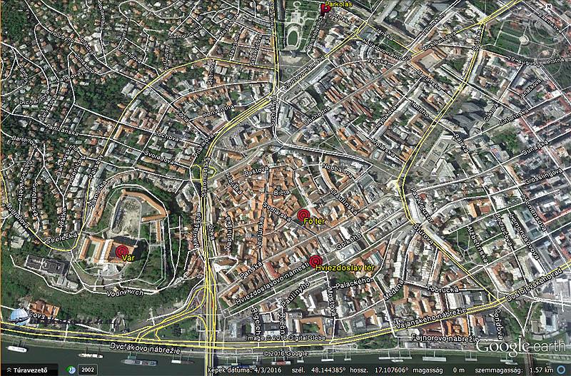 A Pozsonyi advent fő helyszínei térképen - fent középen találtunk az idén is ingyenes parkolóhelyet