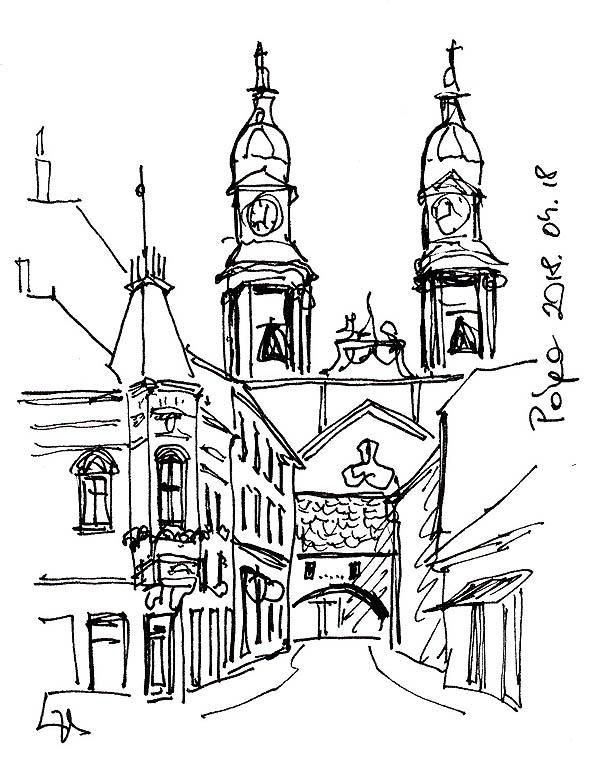 Pápa - A Kossuth utca a kapuszínnel és a Nagytemplommal