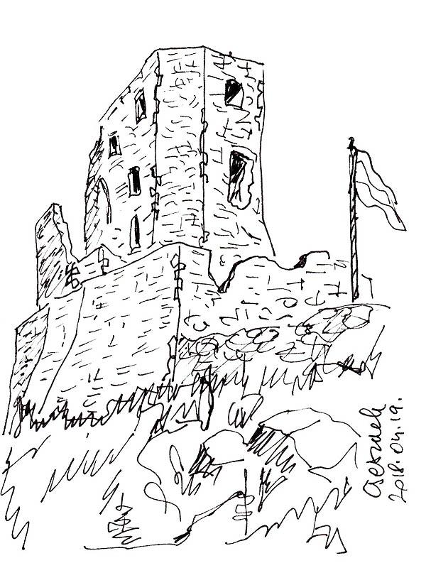 Csesznek - Leng a magyar zászló a vár tornyán