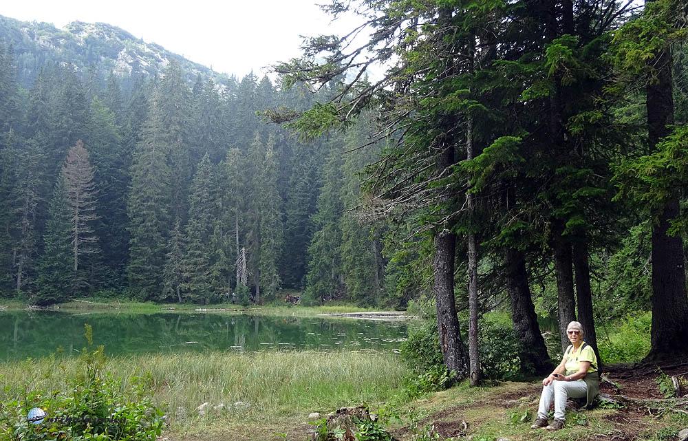 Zminje jezero békés, csöndes vize tele vízinövénnyel